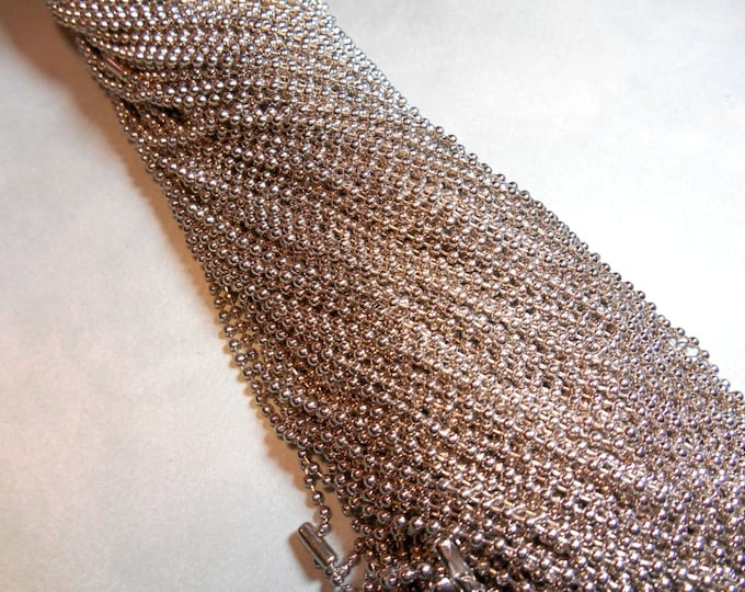 Antique Silver Ball Chain Necklaces - 24 inch - 2.4mm Diameter - Set of 25