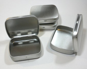 Small Mint Tins with Hinged Top and Rounded Corners - Use for your Pendants Magnets and other Gifts Favors and Goodies - 25