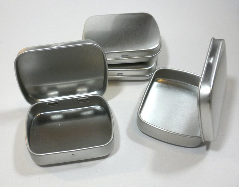 Small Mint Tins with Hinged Top and Rounded Corners  Use for image 0