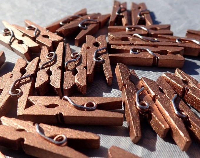 "Dark Gold Mini Clothespins - 25 - 1"" or 2.5 cm - Wooden - Great for Wedding Favors Scrapbooking and Decorations - Dark Copper"