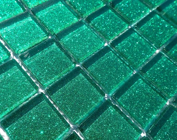Emerald Green Glitter Tiles - 1 inch Mosaic Tiles - 25 Metallic Glass Tiles