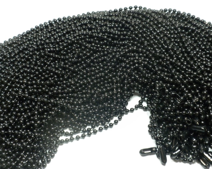 Black Ball Chain Necklaces - 24 inch - 2.4mm Diameter - Set of 10