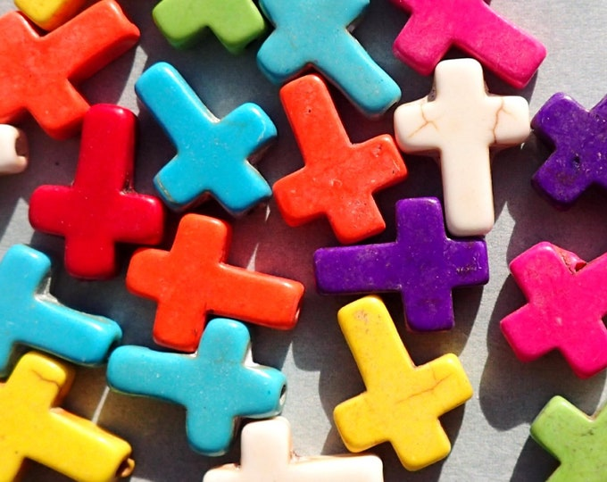 Colorful Cross Stone Beads - Set of 10
