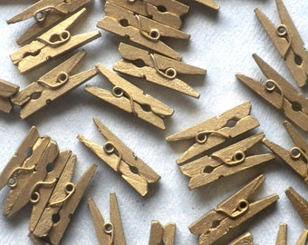 "Gold Mini Clothespins - 100 - 1"" or 2.5 cm - Wooden - Great for Wedding Favors Scrapbooking and Decorations"