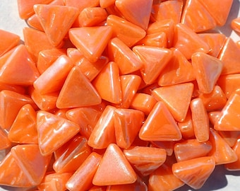 Small Orange Triangle Iridescent Glass Mosaic Tiles - 10mm - Opaque Glass Solid Color - 50g of Triangles in Pearl Finish