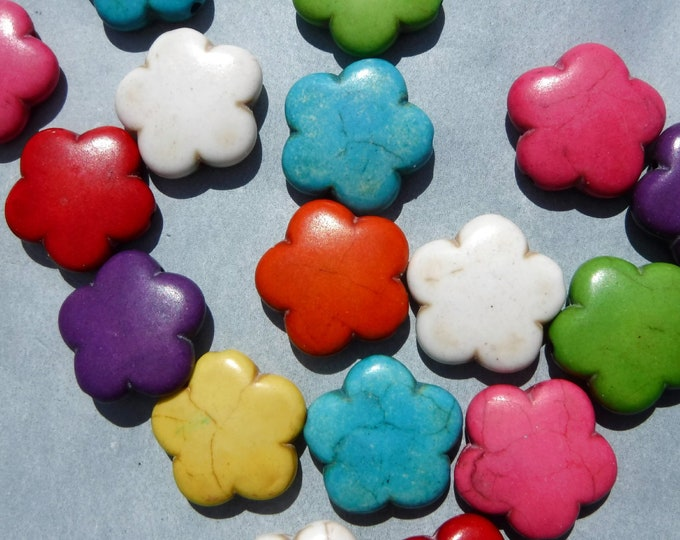 Colorful Flower Beads - 10 Large 15mm Stone Beads