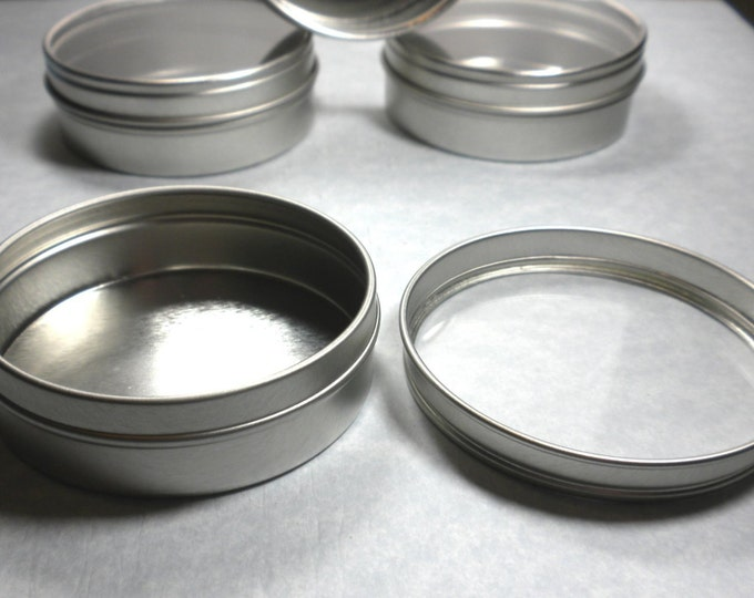 Round Tin with Clear Lid - 2.5 ounces Circle Food Grade and Seamless - Use for your Pendants Magnets and other Gifts Favors and Goodies - 10
