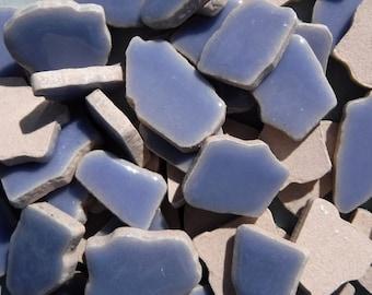Cornflower Blue Mosaic Ceramic Tiles - Jigsaw Puzzle Shaped Pieces - Half Pound