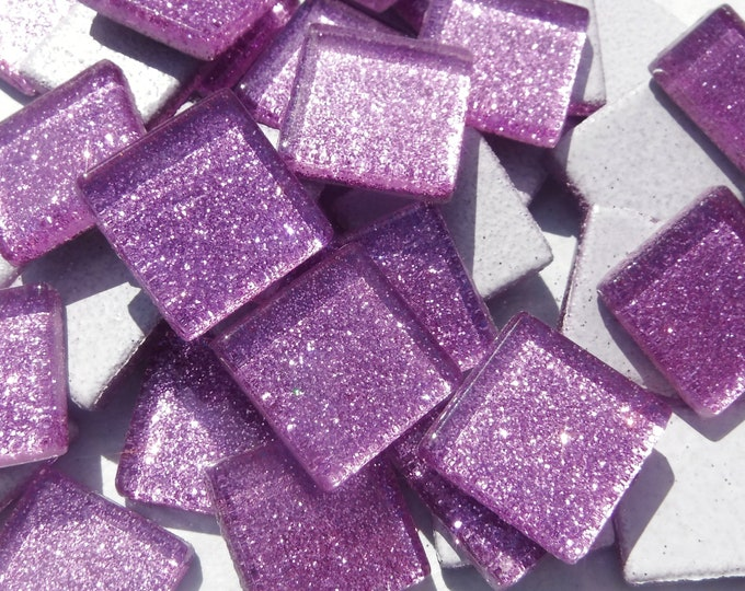 Light Purple Glitter Tiles - 20mm Mosaic Tiles - 25 Metallic Glass Tiles in Lavender