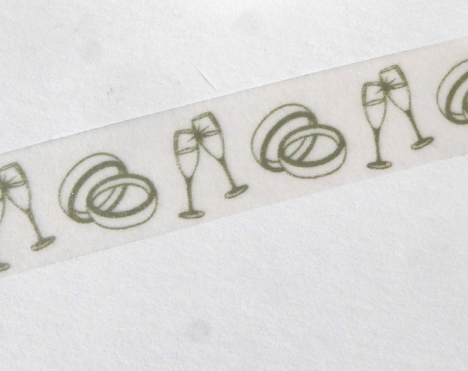 Wedding Washi Tape - Paper Tape Great for Scrapbooking Paper Crafts and Marriage Decorations - Rings and Champagne Glasses Silver 15mm x 10m
