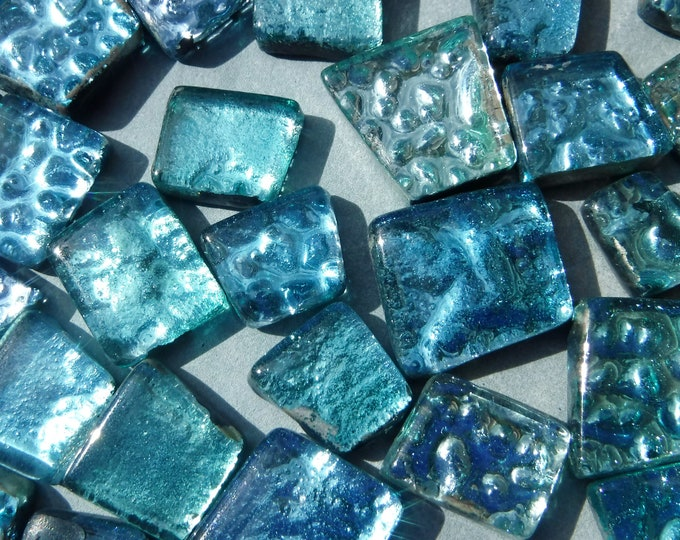 Waterfall Blues Glass Foil Tiles - Assorted Shapes - 50 grams - Naiad Aqua
