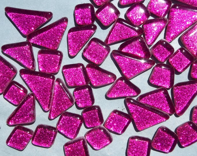 Dark Pink Glitter Puzzle Tiles - 100 grams in Assorted Shapes