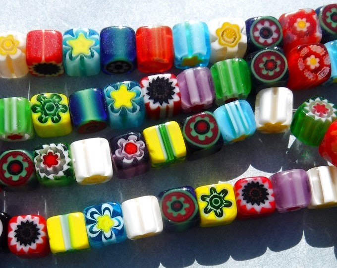 Square Millefiori Cube Glass Beads - 6mm - Approx 60 beads