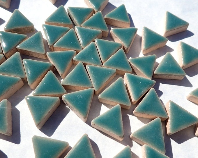 Deep Sea Green Mini Triangles Mosaic Tiles - 50g Ceramic - 15mm in Phthalo Green