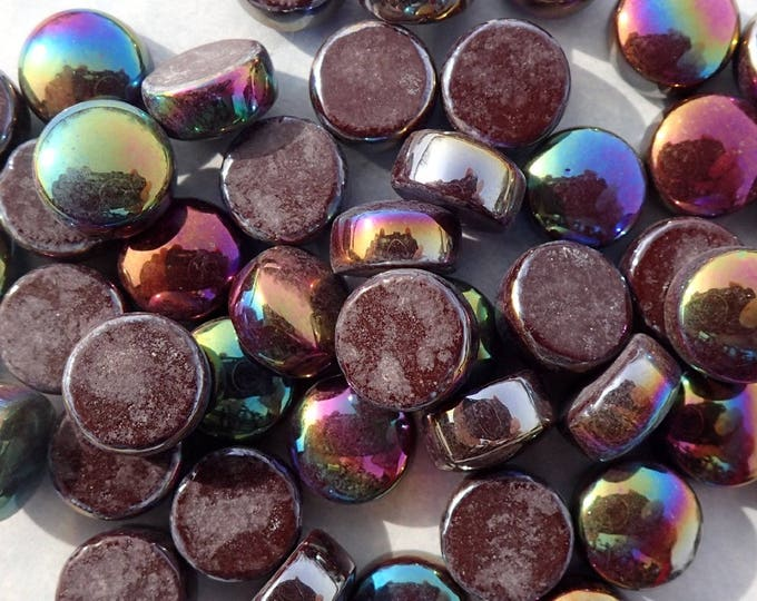 Dark Brown Iridescent Glass Drops Mosaic Tiles - 100 grams Vase Fillers Home Decor - Flat Back Marbles Glass Gems