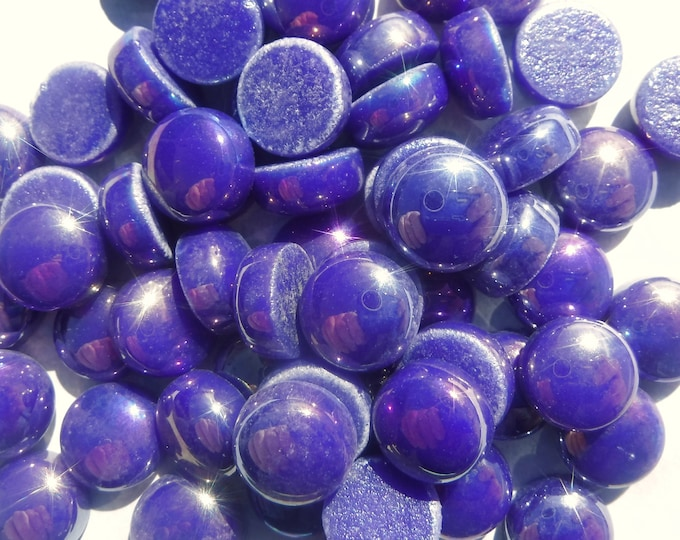 Ultra Violet Iridescent Glass Drops Mosaic Tiles - 100 grams - 12mm