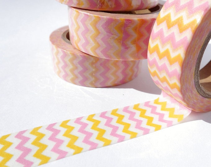 Pink and Orange Chevron Washi Tape - Paper Tape Great for Scrapbooking Paper Crafts and Decorations -Spring Colors Pattern 15mm x 10m
