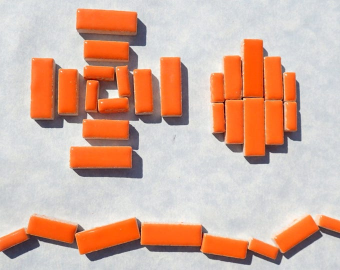 """Orange Mini Rectangles Mosaic Tiles - 50g Ceramic in Mix of 3 Sizes 3/8"""" and 5/8"""" and 3/4"""""""