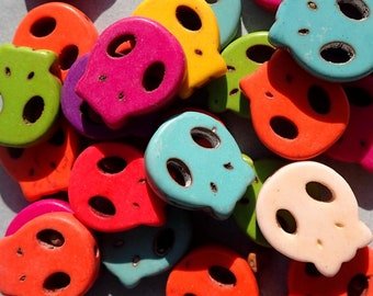 Colorful Skull Beads - 10 Stone Beads - 15mm