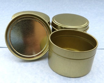 Gold Round Tin with Lid - 6 ounces Circle  - Use for Wedding Favors Candles or Gifts - Seamless and Food Safe - Set of 10