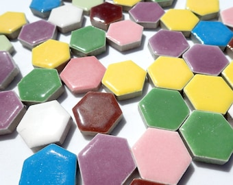 Hexagon Mosaic Tiles - 100 Ceramic Tiles 1 Inch Assorted Colors Tesserae Mosaic Supplies