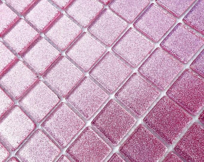 Pink Glitter Tiles - 1 inch Mosaic Tiles - 25 Metallic Glass Tiles - Mauve