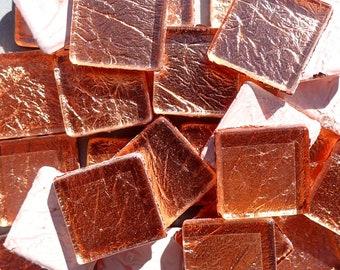 Copper Foil Square Tiles - 25 Glass Mosaic Tiles - 20mm