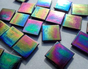 Black Glass Tiles - 20mm - Iridescent Venetian - 100 grams