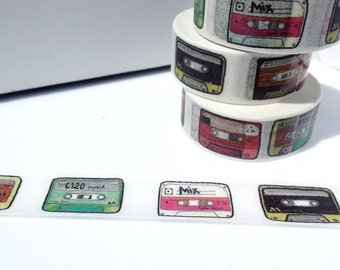 Cassette Tape Washi Tape - Paper Tape Great for Scrapbooking Paper Crafts and Decorations - Mix Tape 80s Retro Vintage Music 15mm x 10m