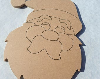 Santa Plaque -  Use as a Base for Mosaics Decoupage or Decorative Painting - Unfinished MDF Small 8 inch Sign Christmas Saint Nick