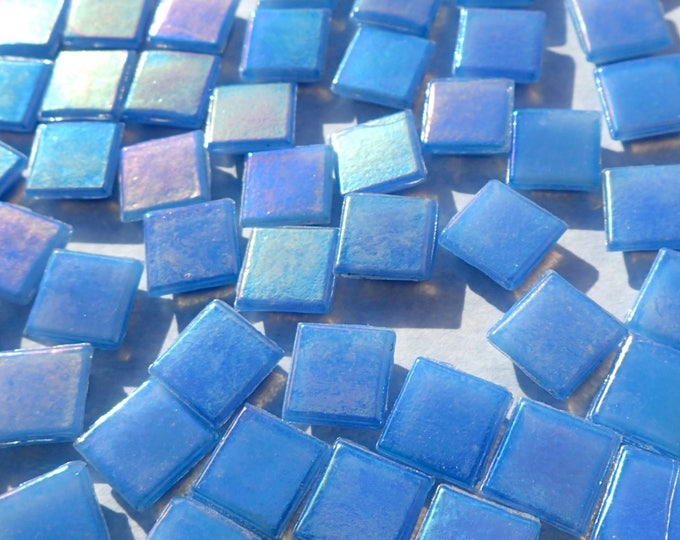 Sky Blue Iridescent Venetian Glass Tiles - 1 cm - Approx 3/8 inch - Mosaic Tiles - 100 grams - 10mmx10mmx4mm Mosaic Tiles