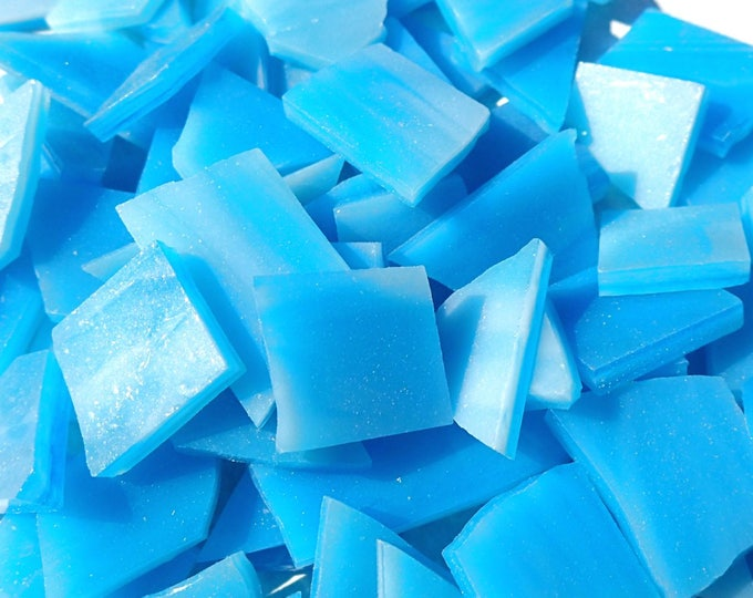 Stained Glass Mosaic Tiles in Caribbean Blue - 1/2 Pound - Tropical Blue Glass Tiles