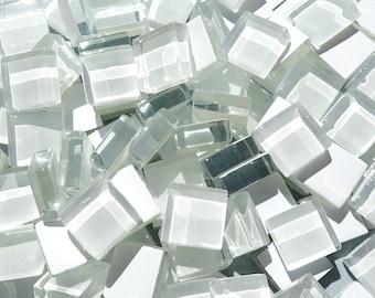 White Glass Tiles - 1 cm - Crystal Mosaic Tiles - Set of 100