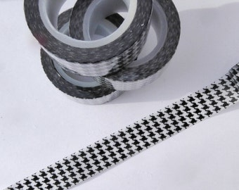 Houndstooth Washi Tape in Black and White - Paper Tape Great for Scrapbooking Paper Crafts and Decorations and Celebrations 15mm x 10m