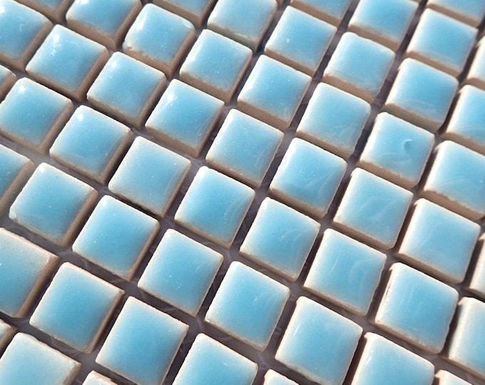 Light Blue Square Mosaic Tiles - 1 cm Ceramic  - Half Pound - Azure