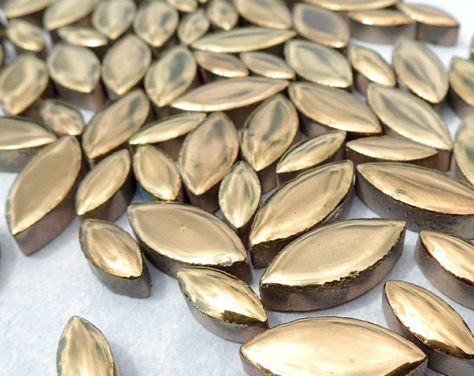 """Gold Petals Mosaic Tiles - 50g Ceramic Leaves in Mix of 2 Sizes 1/2"""" and 3/4"""" - Metallic Tiles"""