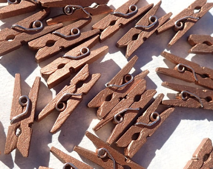 "Dark Gold Mini Clothespins - 100 - 1"" or 2.5 cm - Wooden - Great for Wedding Favors Scrapbooking and Decorations - Dark Copper"