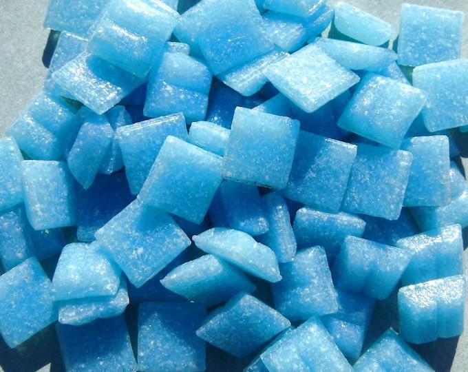 Frigid Water Blue Vitreous Glass Tiles - 1 cm - Approx 3/8 inch - Mosaic Tiles - 100 grams - 10mmx10mmx4mm - Blue Mini Mosaic Tiles