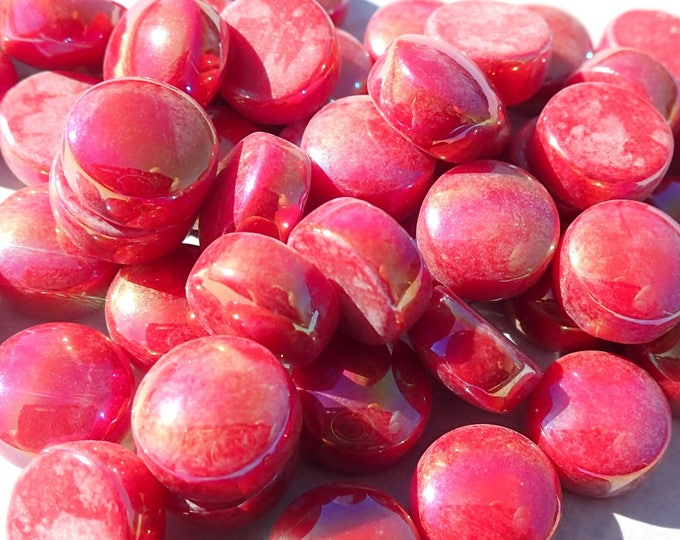Red Iridescent Glass Drops Mosaic Tiles - 100 grams Pearl Glass Gems