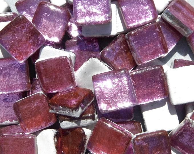 Lotus Pink Foil Square Crystal Tiles - 12mm - 50g