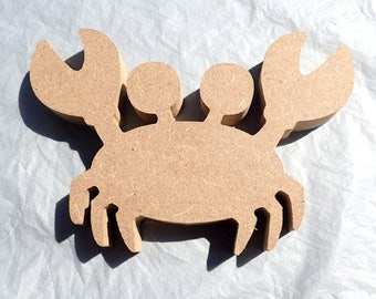 Crab Plaque -  Unfinished MDF Small 6 inch Sign B