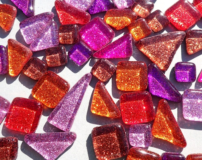 Purple Fire Glitter Tiles - Assorted Shapes and Colors - 100 grams