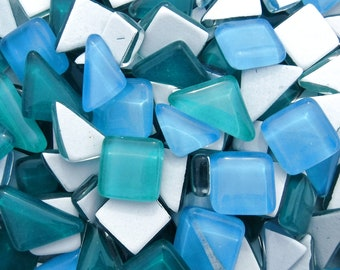Lakeside Glass Puzzle Tiles - 100 grams in Blues and Greens