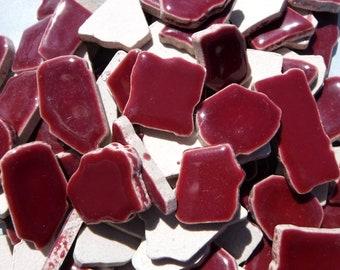 Burgundy Jigsaw Mosaic Ceramic Tiles - Puzzle Shaped Pieces - Half Pound