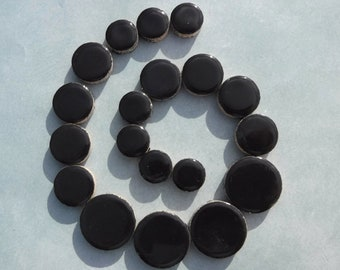"""Black Circles Mosaic Tiles - 50g Ceramic in Mix of 3 Sizes 1/2"""" and 3/4"""" and 5/8"""""""