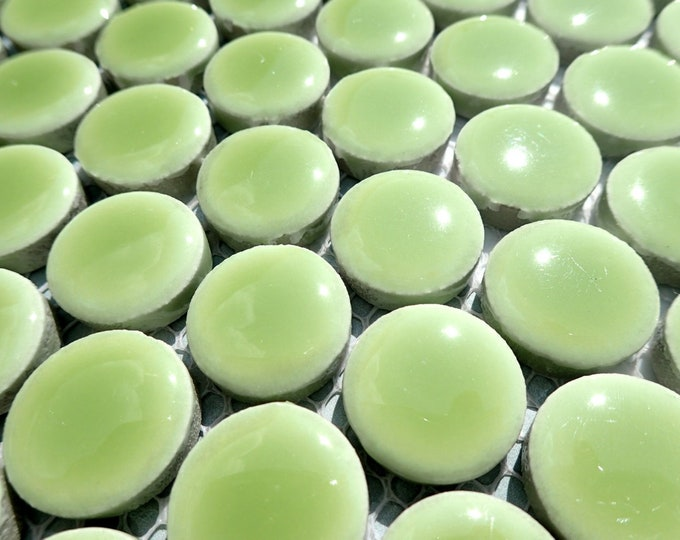 Electric Lime Green Round Mosaic Tiles - .75 inch - 25 Penny Rounds