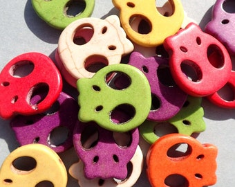 Colorful Skull Beads - 8 Large 22mm Day of the Dead Stone Beads