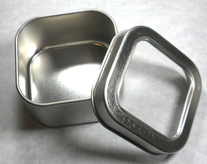 Square Tin with Clear Lid - 4 ounces -  Seamless - Use for your Pendants Magnets and other Gifts Favors and Goodies - Just 2
