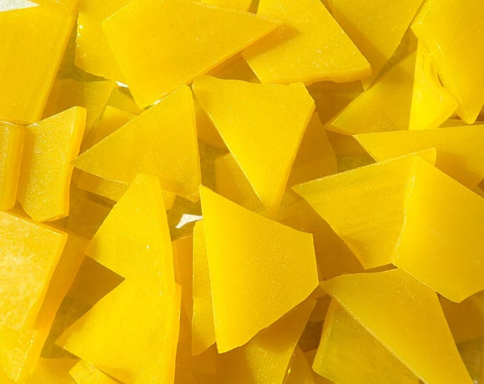 Stained Glass Mosaic Tiles in Sunshine Yellow - 1/2 Pound - 5-15 mm Various Shapes