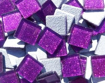 Purple Glitter Tiles - 20mm Mosaic Tiles - 25 Metallic Glass Tiles in Bright Violet